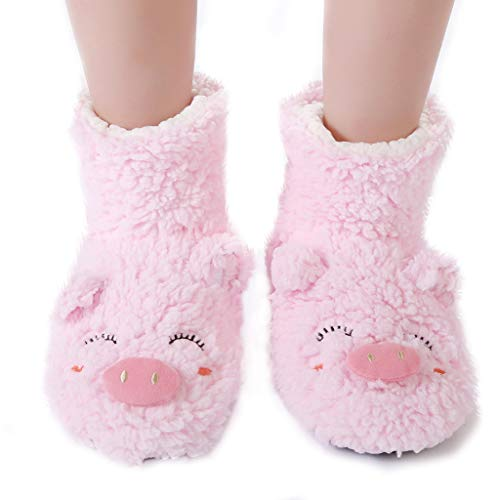 - Panda Bros Slipper Socks for Women Cozy Warm Lined Fuzzy Sock Slippers Indoor Booties with Non Slip Grippers(pink pig,5-7.5)