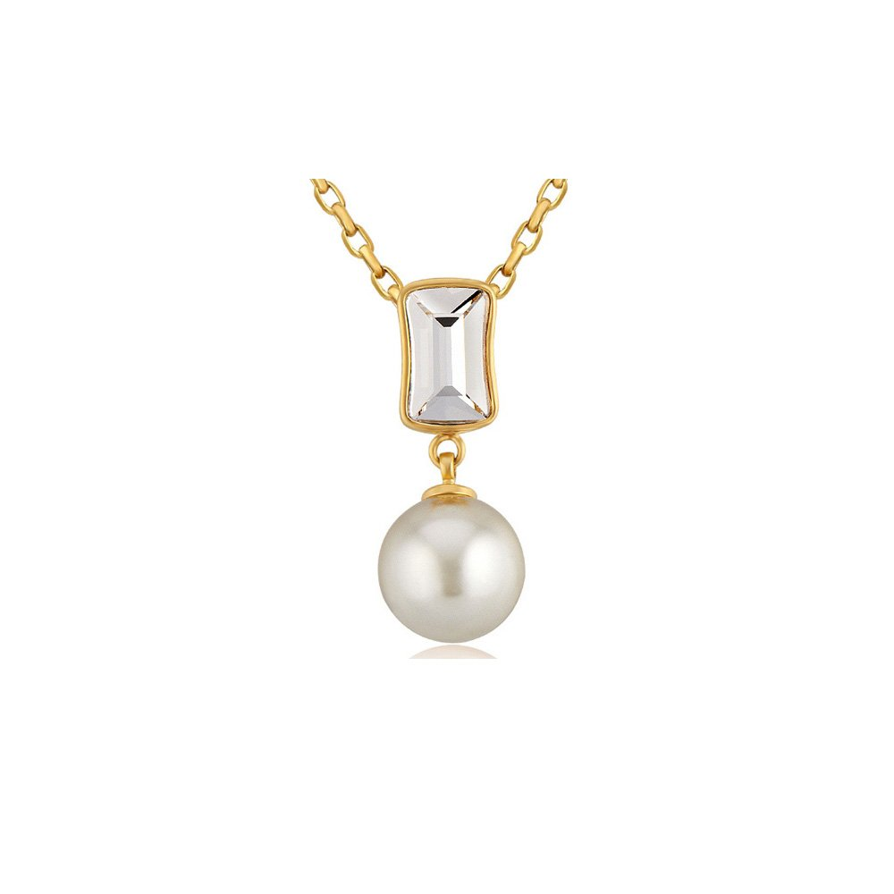 BPS E203 J BPS E203 J- Blue Pearls White Pearl and Swarovski Crystal Elements Pendant y Yellow Gold Plated Blue Pearls