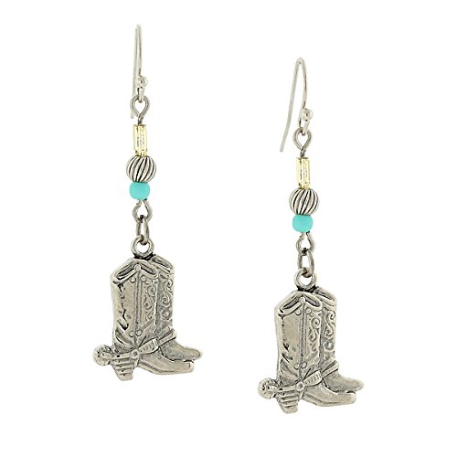 Silver Tone and Imitation Turquoise Accent Western Boots Drop Earrings by 1928 Jewelry