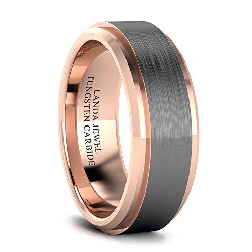 Brushed Heart Ring (Tungsten Carbide 8mm Wedding Band for Men 18K Rose Gold Plated Beveled Edges Center Brushed Comfort Fit (8))