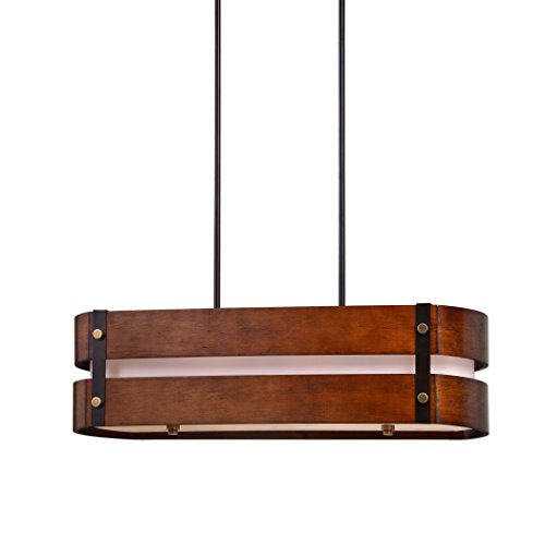 Wood Metal Contemporary 4 Bulb Light Chandelier | Modern Brass Oval Pendant Kitchen Island