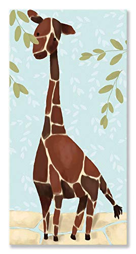 (Oopsy Daisy Gillespie The Giraffe Blue Stretched Canvas Wall Art by Meghan O'Hara, 12 by 24-Inch)