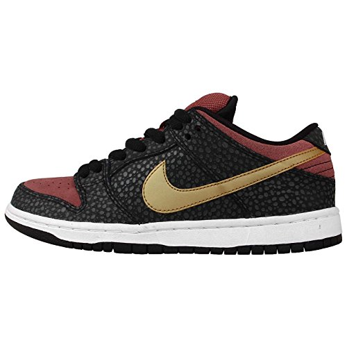 Nike Men's Dunk Low Premium SB QS, BLACK/METALLIC GOLD-LIGHT RDWD, 6 M US ()