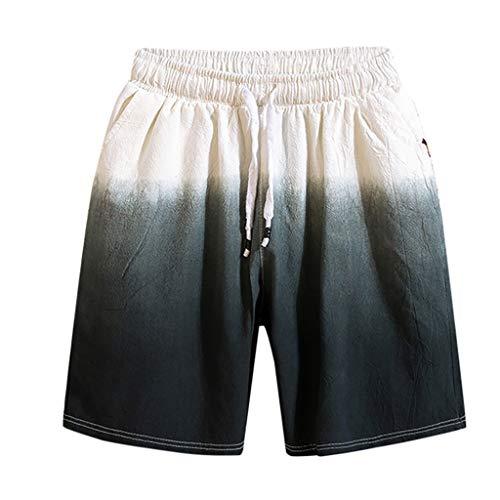 LUCAMORE Men's Gradient Cotton Linen Shorts Elastic Waist Drawstring Outdoor Training Running Shorts Gray