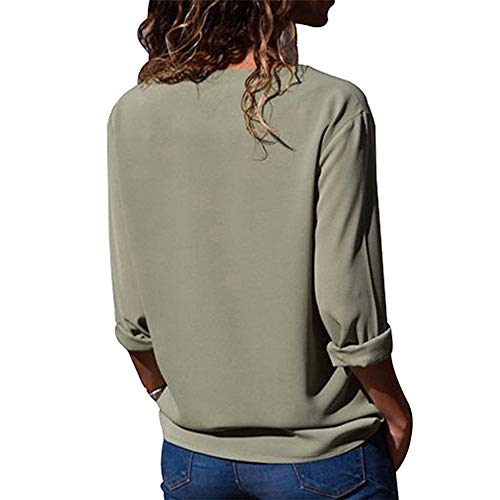 Button Chemisier Plus Chemise Handwerker Manches Size Blouse Couleur Chemisier Vert Longues Unie Femmes Hauts Femme Guter APwzqxIq