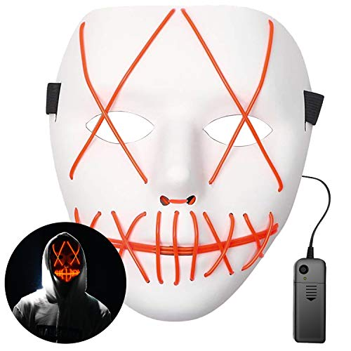 Scary Costumes With El Wire - Halloween Mask, LED Costume Cosplay Mask