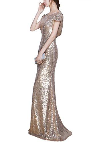 KAXIDY Damen Lang Abendkleider Kleider Pailletten Kleider Cocktail Festkleider Cocktailkleider Langer Pailletten-Abendkleid Kleid Sequinkleid Gold QF6dcg