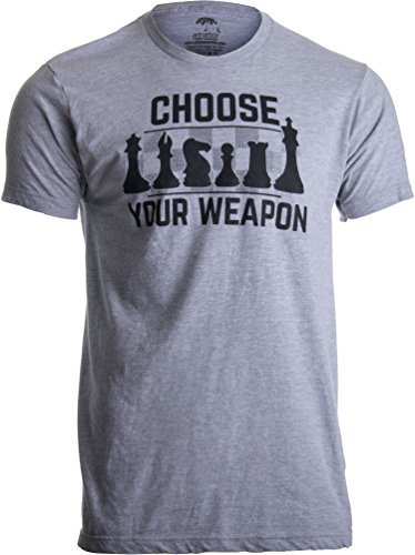 Chess - Choose Your Weapon | Funny Player Joke, Club Team Set Game Humor T-Shirt-(Adult,M) Sport Grey