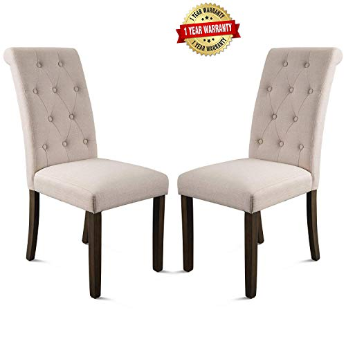 Merax Aristocratic Style Dining Chair Noble and Elegant Solid Wood Tufted Dining Chair Dining Room Set (Set of 2) ()