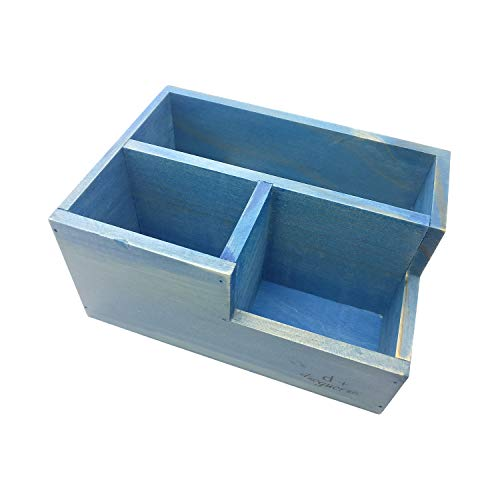 (Chris-Wang Multifunctional 3-Compartment Wooden Desktop Office Supply Caddy/Pencil Holder/Desk Mail Organizer/Succulent Plants Planter(Blue))