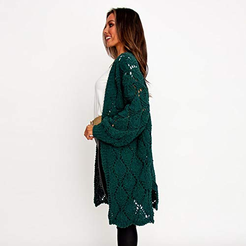 PRETTYGARDEN Women's Elegant Solid Open Front Lantern Long Sleeve Hollow Out Side Split Chunky Knitted Long Outwear Coat (Green, Small)