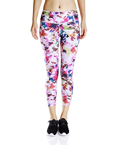 Dry Semi Fitted Capri Pants (Luxja Printed Capri Yoga Leggings/Sports Pants/ Gym Pants with inner pocket, Colorful Puzzle)