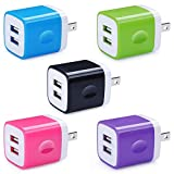 5 Pack Wall Charger, HUHUTA Dual Port 2.1A USB Phone Charger Adapter Block Box Compatible iPhone X/8/7, iPad, Samsung Galaxy S9/S8/Note 9, LG, Pixel, Huawei, Moto, Google, HTC, and More