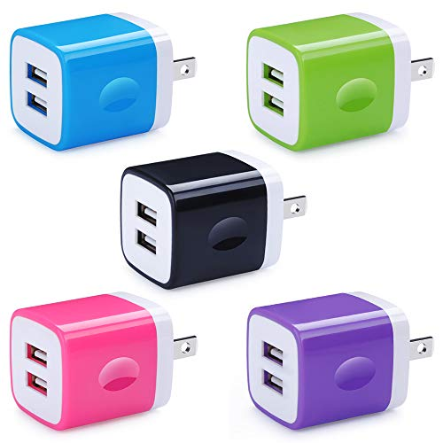 5 Pack Wall Charger, HUHUTA Dual Port 2.1A USB Phone Charger Adapter Block Box Replacement for iPhone Xs(max)/Xr/X/8, iPad, Samsung Galaxy S9/S8/Note 9, LG, Pixel, Moto, Google, HTC, and More ()