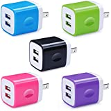 5 Pack Wall Charger, HUHUTA Dual Port 2.1A USB Phone Charger Adapter Block Box Compatible iPhone Xs(max)/Xr/X/8, iPad, Samsung Galaxy S9/S8/Note 9, LG, Pixel, Huawei, Moto, Google, HTC, and More