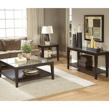 - Homelegance Vincent 3 Piece Coffee Table Set w/ Glass Overlay