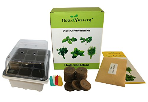 Plant Germination Kit -5 popular organic herbs to grow, Self-watering seed starter tray and More