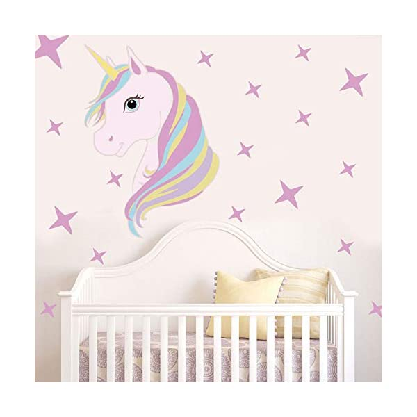 KUYUE Wall Decals Removable Unicorn Wall Stickers for Girls Decorations Bedroom Living Room Playroom Classroom 7