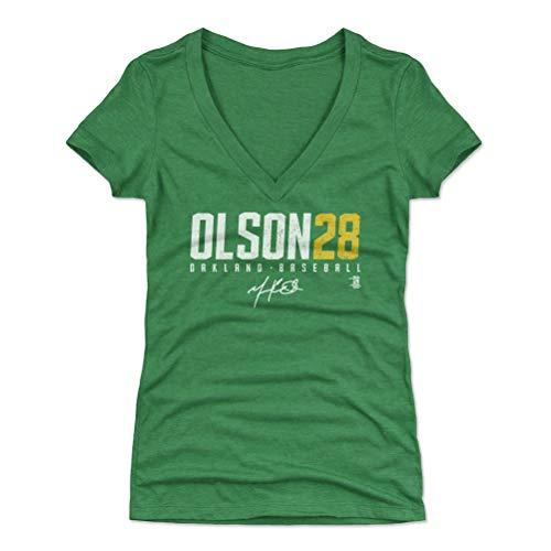 500 LEVEL Matt Olson Women's V-Neck Shirt XX-Large Heather Kelly Green - Oakland Baseball Women's Apparel - Matt Olson Olson28 Y WHT