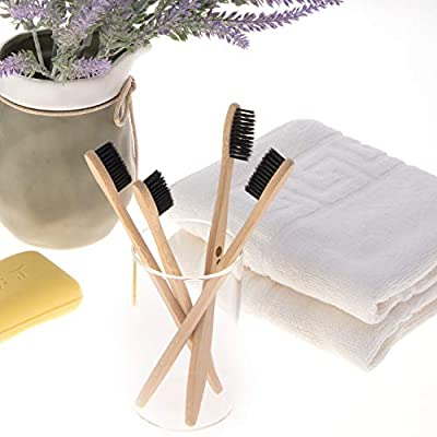 Kho natural|biodegradable|eco-friendly bamboo toothbrush set of 4 - charcoal medium BPA-free nylon bristles