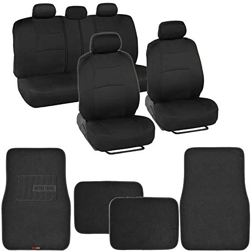 BDK MT-300 Front & Rear Combo Set of 4 Piece Auto Carpet Floor Mats with PolyPro Car Seat Covers, Universal Fit for Car Truck Van SUV, Interior Car Accessories