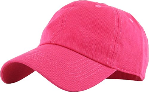 (KB-LOW HPK Classic Cotton Dad Hat Adjustable Plain Cap. Polo Style Low Profile (Unstructured) (Classic) Hot Pink)
