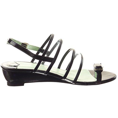 Sopily - Scarpe da Moda sandali Aperto alla caviglia donna Gioielli fibbia Tacco zeppa 4 CM - Nero