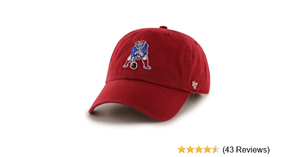 a3b3fb95447a8 Amazon.com    47 New England Patriots Brand NFL Red Throwback Clean Up  Adjustable Hat   Sports Fan Baseball Caps   Sports   Outdoors