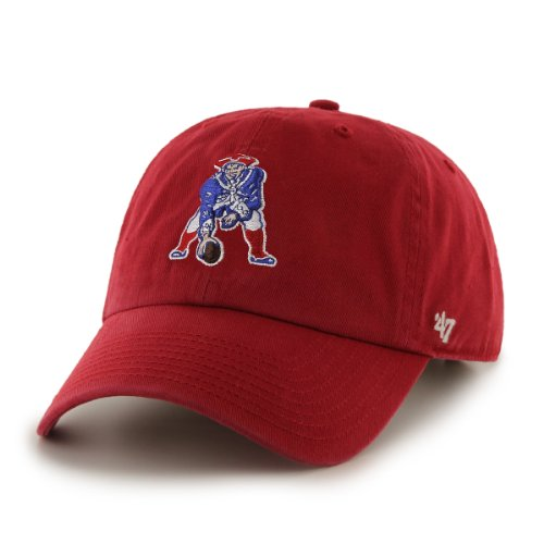 '47 New England Patriots Brand NFL Red Throwback Clean Up Adjustable Hat