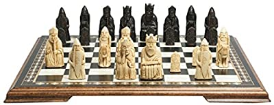 Isle of Lewis Themed Chess Set - 3.5 Inches - In Presentation Box - Handmade in UK - Black and White