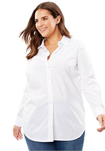 Plus Size Perfect Button Down Shirt - White, L ()