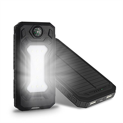 Rucan DIY Waterproof 300000mAh Power Bank 2 USB Solar Charger Case With LED No Battery (Black)