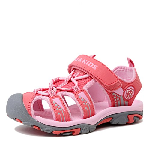 SAGUARO Boys Girls Kids Outdoor Sport Closed-Toe Breathable Mesh Water Athletic Sandals Shoes Pink 7.5 M US Little Kid