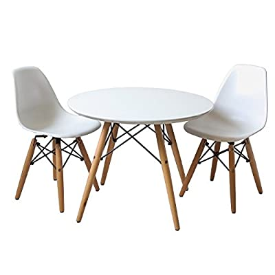 Buschman Set of Table and 2 White Kids Eames Style Chairs