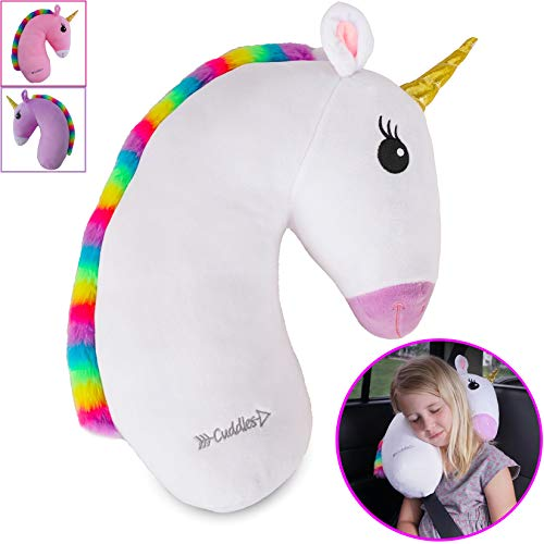 Unicorn Travel Pet by Cuddles| Seat Belt Pillow for Kids| White Car Seat Belt Pillow for Travel| Seatbelt Pillow for Kids| Washable Headrest Cushion Cover for Sy Strap & Booster Seats for girlsafet