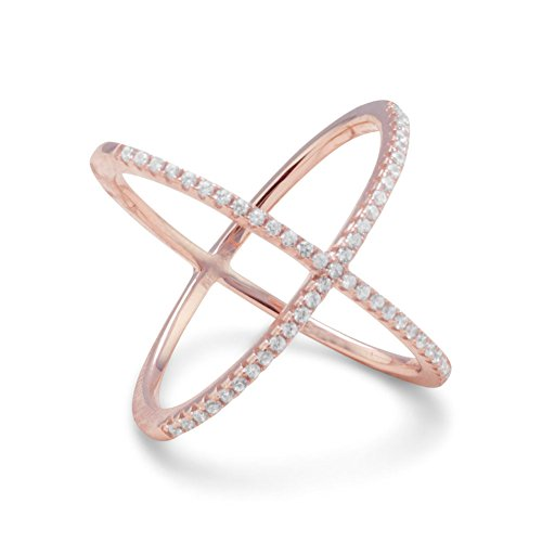 Precious Stars 18k Rose Gold Plated Sterling Silver Signity Cubic Zirconia 'X' Criss-Cross Ring