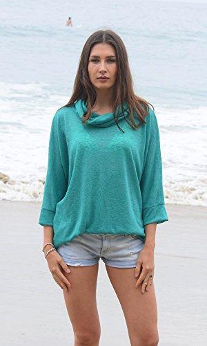 Turquoise Silky Kimono Sweater, Beach Sweater, Ocean Knit Top, Dark Blue Green Sweater, Cowl Neck Emerald Street Kimono Sweater. Size M-XL by Kimonology
