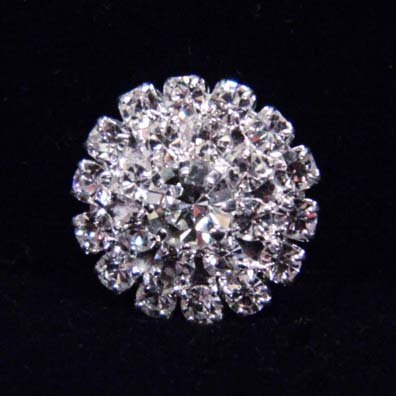 Round Pave Button with Stone Center - Small - #7099