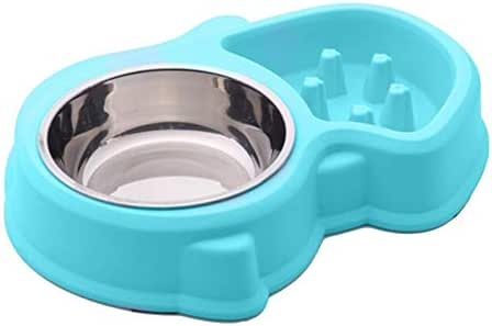 JUFANGFIN Double Small Dog Cats Bowls Anti Choke Feeder Pet Slow Feeding Bowl Food Water Feeder