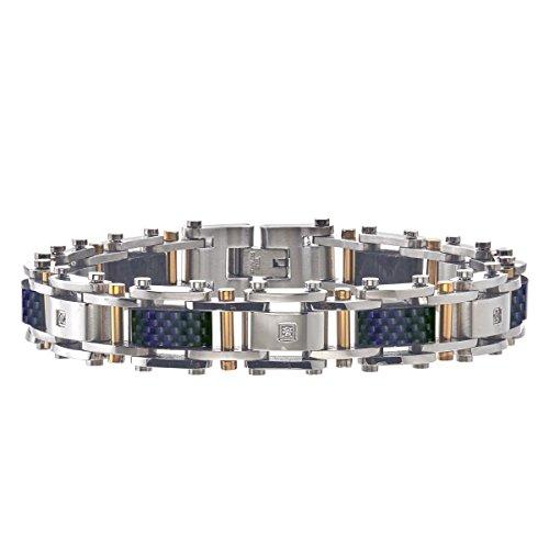 AX Jewelry Mens Diamond Bracelet in Stainless Steel
