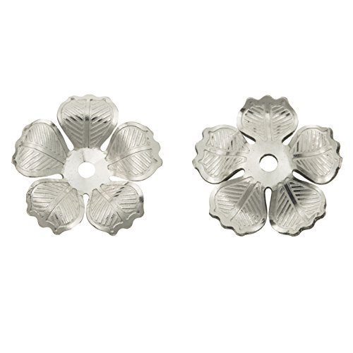 Dreambell 2 pcs 925 Sterling Silver Blossoms Flower Leaf Bead Cap Cover 9mm Blossom Flower Bead