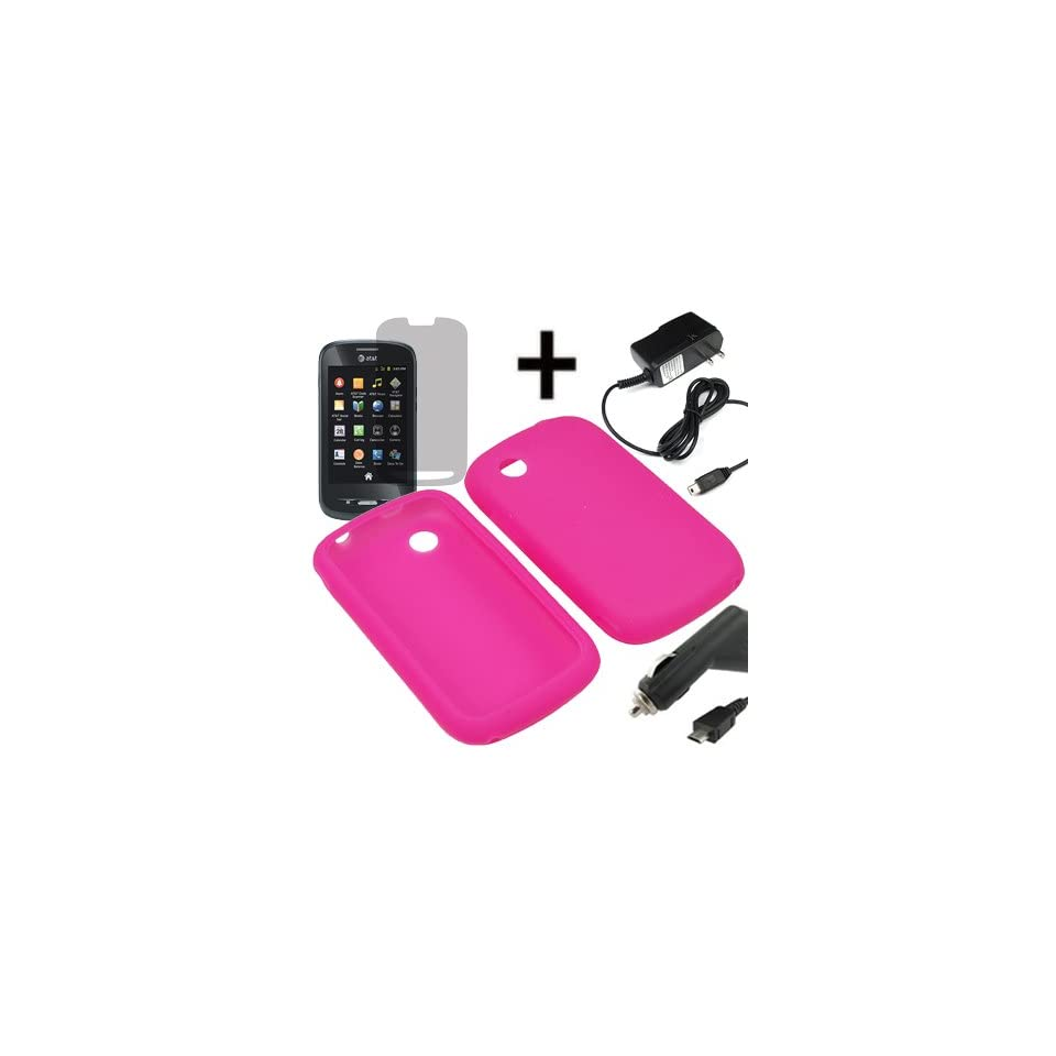AM Soft Sleeve Gel Cover Skin Case for AT&T ZTE Avail Z990 + LCD + Car Home Charger Magenta Pink
