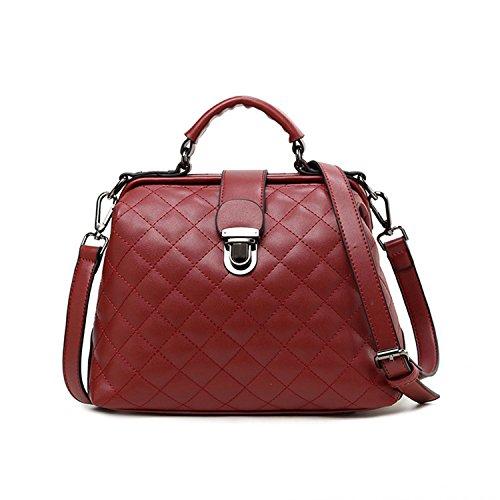 Sanxiner Women's Multi-Pocket Crossbody Bag Trendy Satchel Handbag Shoulder Bags (A-Wine (Multi Pocket Top Handle Satchel)
