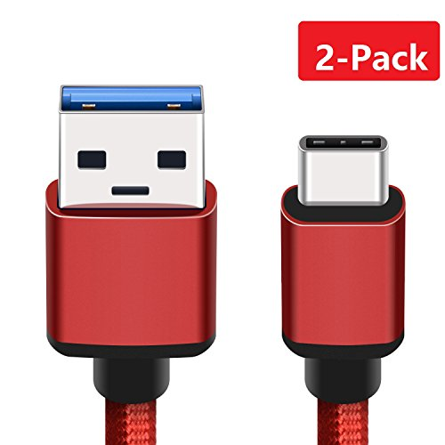 BeneStellar for Samsung Galaxy S8 Charger Cable, 2-Pack 5ft/1.5m USB 3.1 Type C Nylon Braided Cord for Samsung S9 / Note 8 / S8 Plus, LG V20 Google Pixel, Nintendo Switch and More (Red)