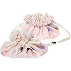 "C.R. Gibson Women's Soft Pink Cotton and Satin Drawstring Travel Jewelry Pouch, 6"" W X 4"" H Bag, One Size"