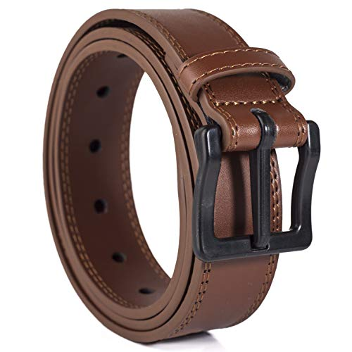 ITAY Metal Free 34 mm 48-50 Leather Brown Belt with Airport Friendly Nickel Free Strong New Buckle ()