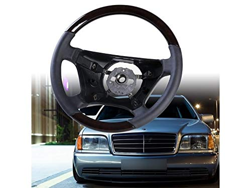 Steering Wheel Walnut Wood Black Leather Standard For, used for sale  Delivered anywhere in USA