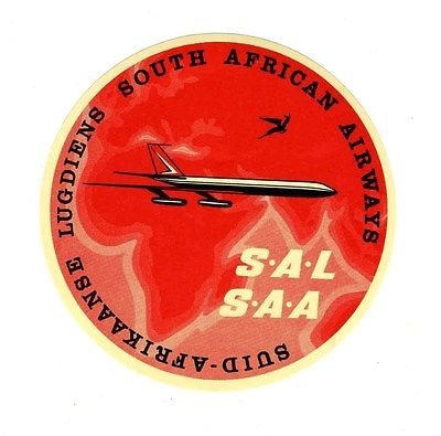 South African Airlines Sticker Type 2 SAA SAL Jet Over Africa