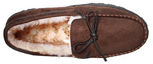 Carebey Heren Winter Comfortabele Warme Mocassins Pantoffels Met Antislip Rubberen Zool Loafers Schoenen Donkerbruin