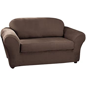 Sure Fit Stretch Suede   Sofa Slipcover   Chocolate (SF37529)